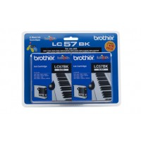 Brother LC57 Black Ink Cartridge Twin Pack - 500 pages
